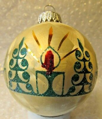 """VINTAGE 3"""" GLASS CHRISTMAS ORNAMENT FROSTED PANE MCM CANDLE TREES GERMANY"""
