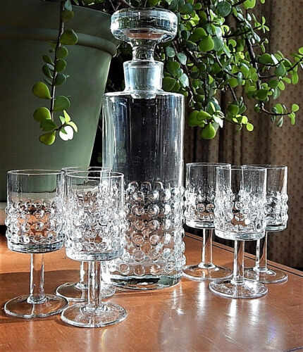 HOBNAIL Clear Glass DECANTER + 6 footed LIQUOR Glasses ViNtaGe Booze COCKTAIL