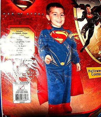 NEW SUPERMAN MAN OF STEEL HALLOWEEN COSTUME TODDLER BOYS SIZE 2-4 FOR 1-2 Y NWT