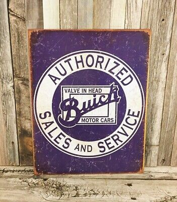 Buick Authorized Sales and Service Head Blue Metal Tin Sign Vintage Garage Car