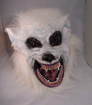 Weiß Werwolf Latex Maske Halloween Kostüm Wolf Unheimlich Hund Schnee Werwolf