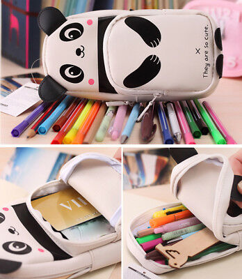 Kids Panda Large Capacity Pen Pencil Case Pen Box School Stationery Cosmetic -