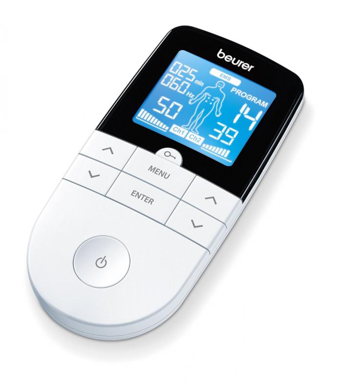 Beurer EM49 Electroestimulador Digital Masaje EMS TENS, Pantalla LCD, 2 Canales,