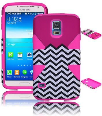 For Samsung Galaxy S5 Hybrid Hot Pink Chevron Hard Case + Pink Silicone Cover