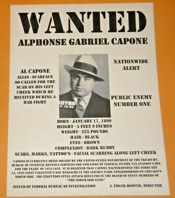 Al Capone  Scarface  Chicago The Outfit Mafia Boss Wanted Poster Gangster Mob