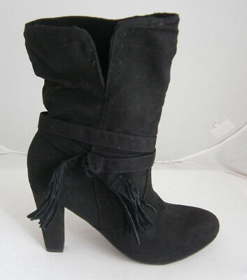 - EXPRESS BLACK SLOUCH BOOTS SIZE 6 8 FABRIC CALF HEIGHT SEXY TASSELS NWT $69.90