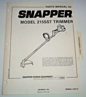 Snapper 215sst Trimmer Parts Catalog Manual 190