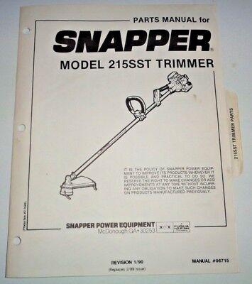 Snapper 215sst Trimmer Parts Catalog Manual 190