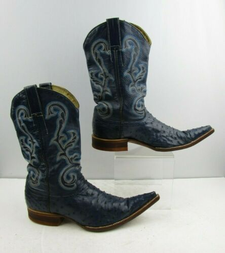 Mens, Blue, Full, Quill, Ostrich, Pointed, Toe, Cowboy, Boots, Size:8, ?