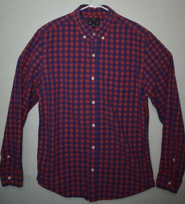 Gap Mens M Slim Fit Button Up Long Sleeve Shirt Red Blue