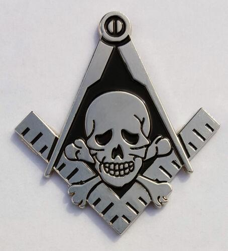 Auto Emblem Square Compass Skull Bones Hiram Abiff Widows Son Mason Cut Out