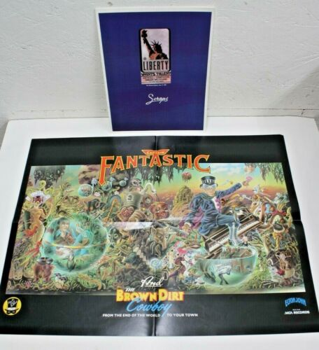 "1975 ELTON JOHN ""Captain FANTASTIC/The Brown Dirt Cowboy POSTER & SCRAPS Book"