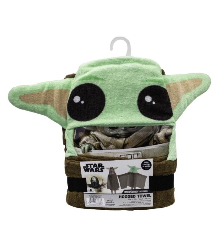 NiP Disney Star Wars Mandalorian Baby Yoda Hooded Bath Towel with Ears