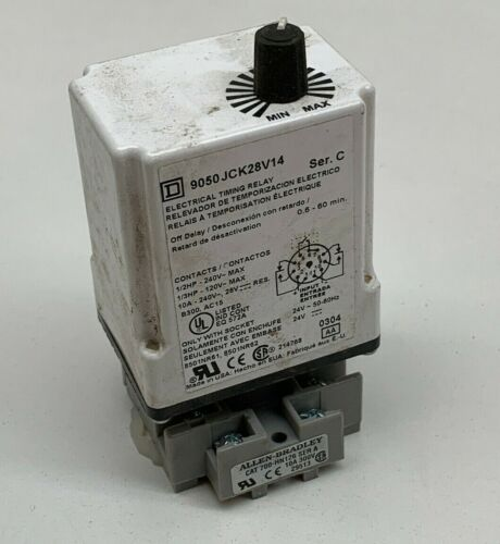 Square D 9050 JCK28V14 Electrical Timing Relay, Off Delay - With Socket Base