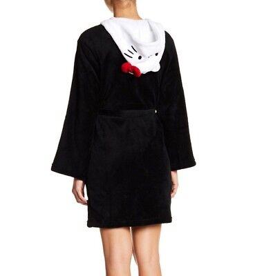 NEW Hello Kitty Medium Womens Black Robe with White Hello Kitty Character Hood