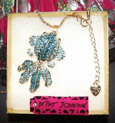 Betsey Johnson Goldfish Koi B/O Necklace Pendant Crystal Enamel Gift Box Bag NWT - Enameled Purse Pendant