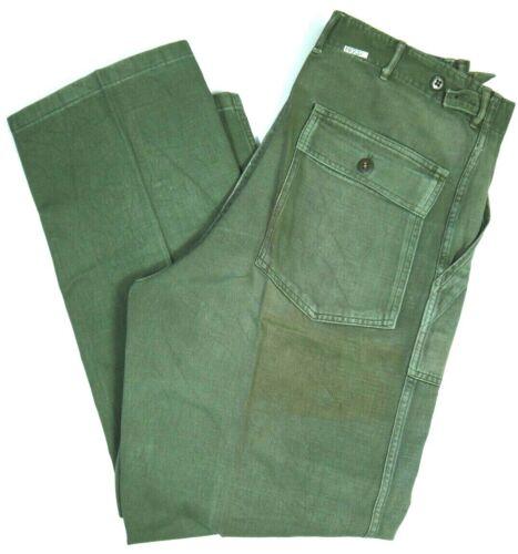 Vintage 60s Military Sateen Pants Trousers Vietnam Era OG-107 Army mens 34x32 US