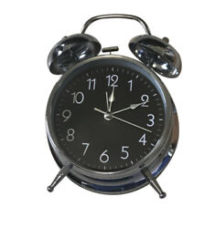 Analog Twin Bell Alarm Clock Quartz Silver Loud Wake Old Fashioned 8 inches