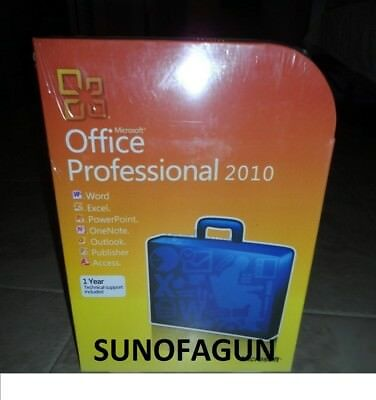 Microsoft Office 2010 Professional 32 64 Bit Retail For 2 Pc W  Media