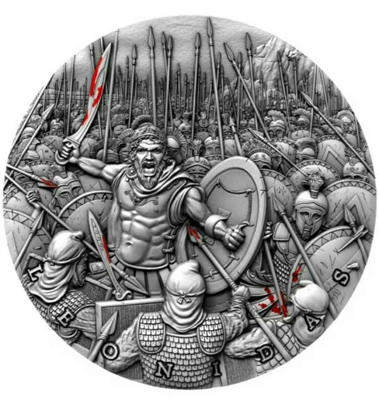 2019 2 Oz Silver $5 Niue LEONIDAS Thermopylae Great Commanders Antique Coin.
