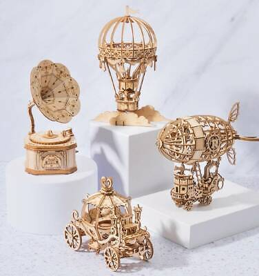 3d Puzzles For Kids (Robotime Laser-Cut Toy Wooden 3D Puzzle DIY Crafts Kits Gift for Girls Boys)