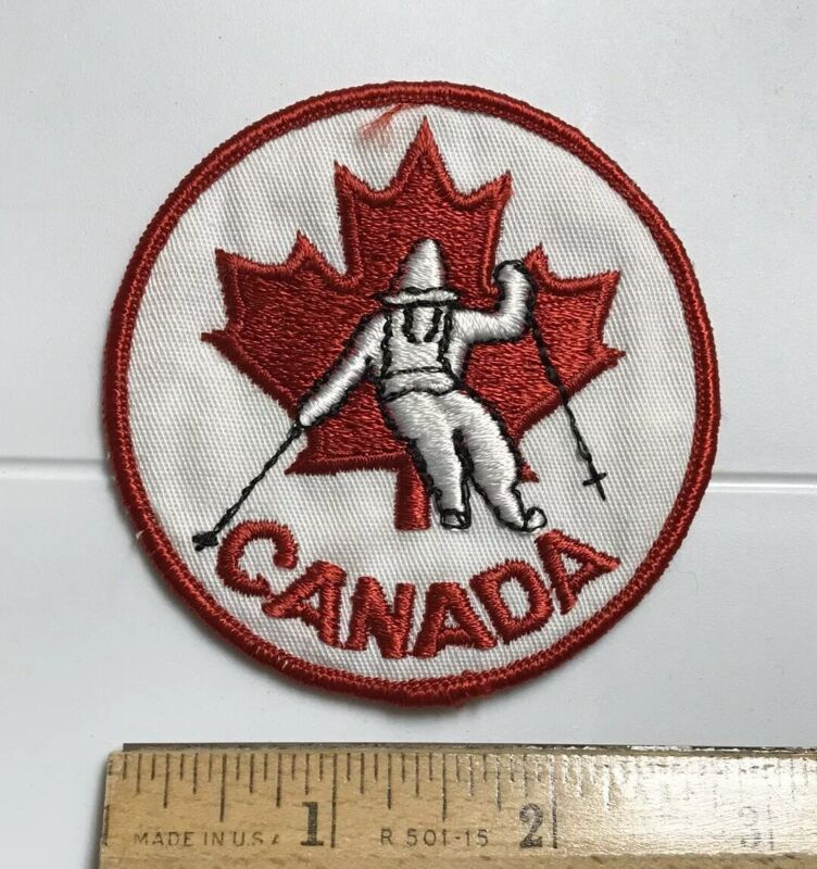Canada Red Maple Leaf Logo Ski Skier Skiing Round Embroidered Patch Badge