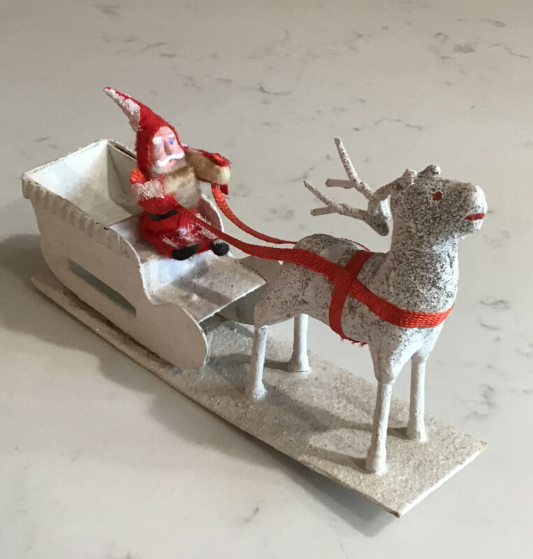 Vintage Mica Cardboard Sleigh Clay Face Santa Celluloid Reindeer Candy Container