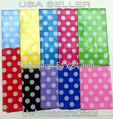 Polka Dot Plastic table Cover Rectangular 54 x 84 Inch Tablecloth - U Pick Color - Polka Dot Party