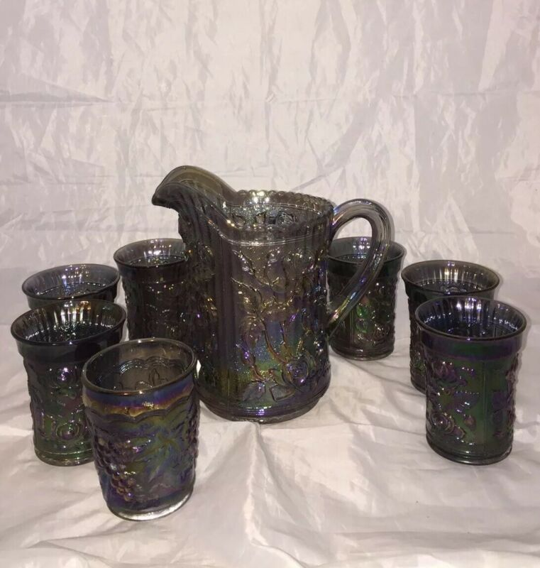 Imperial Open Rose Smoke Pitcher & Tumblers Set of Six