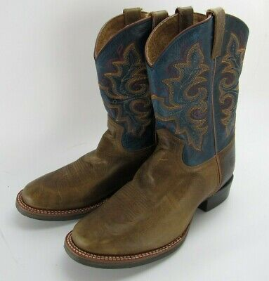 Double H Mens Western Cowboy Boots 11.5 Slip On Brown Blue Round Toe