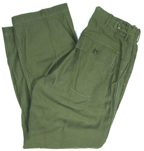 Vintage 60s Military Sateen Pants Trousers Vietnam Era OG-107 BDU mens 32x29 USA