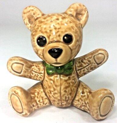 (Goebel West Germany Brown Teddy Bear Figurine 539 Green Bow Tie Hug Baby Nursery)