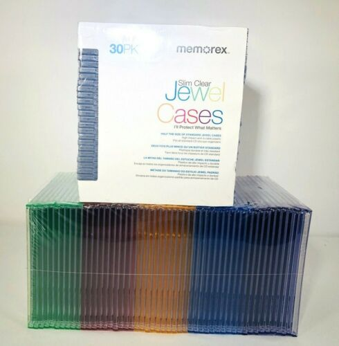 MEMOREX 80 PACK JEWEL SLIM CD DVD VARIOUS COLORS CASES NEW SEALED!
