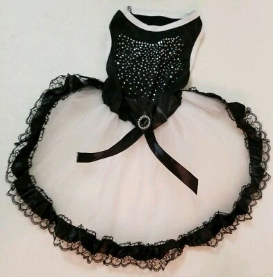 Dog Dress Black White Fluffy Tulle Rhinestone Dress Pet Fancy Weddings NEW ()
