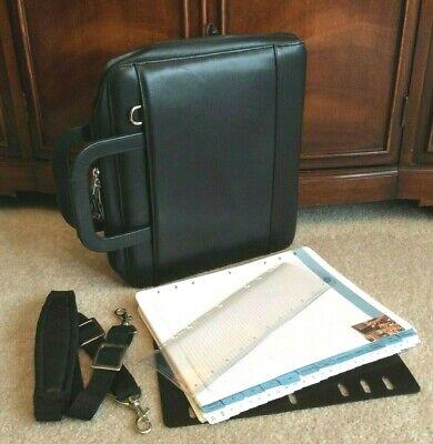 Monarch Black Full Grain Leather Franklin Covey Zip Planner Binder Handle Strap