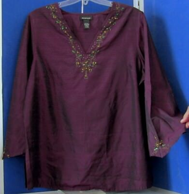 Beauty Violet 20 - EUC Beautiful TUNIC TOP by AVENUE Purple w. BLING V-Neck POINTED Sleeves Sz18-20
