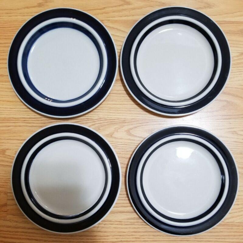 "ARABIA FINLAND ANEMONE BLUE 8"" Salad Dessert Sandwich Plate -- SET OF 4"