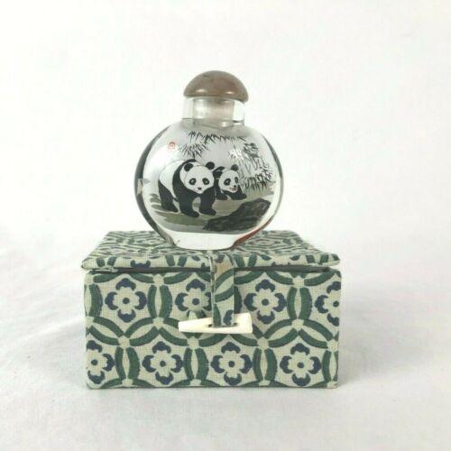Snuff Bottle Chinese Inner Glass Painting Pandas Signed Jessie w Original Box