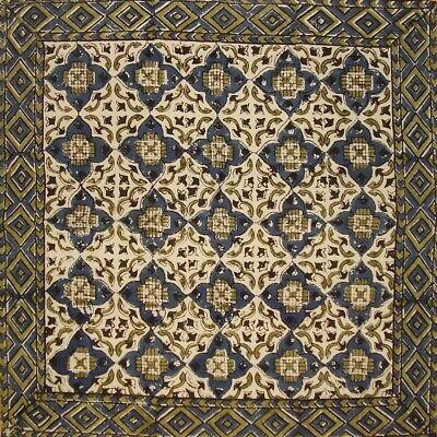 "Moroccan Block Print Cotton Table Napkin 18"" x 18""  Indigo Blue"