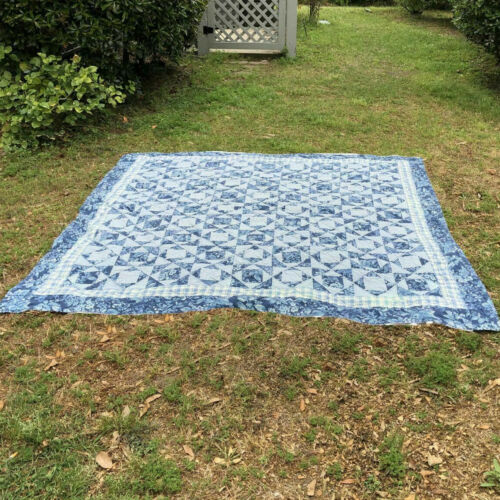 "Vintage Handmade Patchwork Quilt Blue Floral/Checks White Reverse 85"" X 85"""
