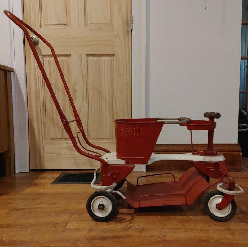 Vtg 1950s TAYLOR TOT Metal Wood Baby Stroller Walker ORIGINAL Dolly Buggy