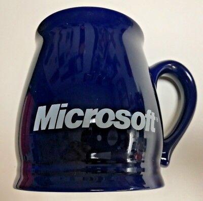 Microsoft Coffee Tea Mug Cup Double Logo Technology Tech Glass Dark Blue