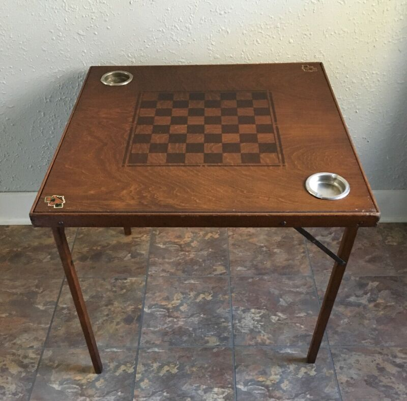 Vintage Wood Folding Card Table Checkers Chess Poker with Ashtrays Mid Century