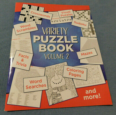 NEW Variety PUZZLE BOOK-Crosswords,Facts&Trivia,Word Searches, & MUCH -