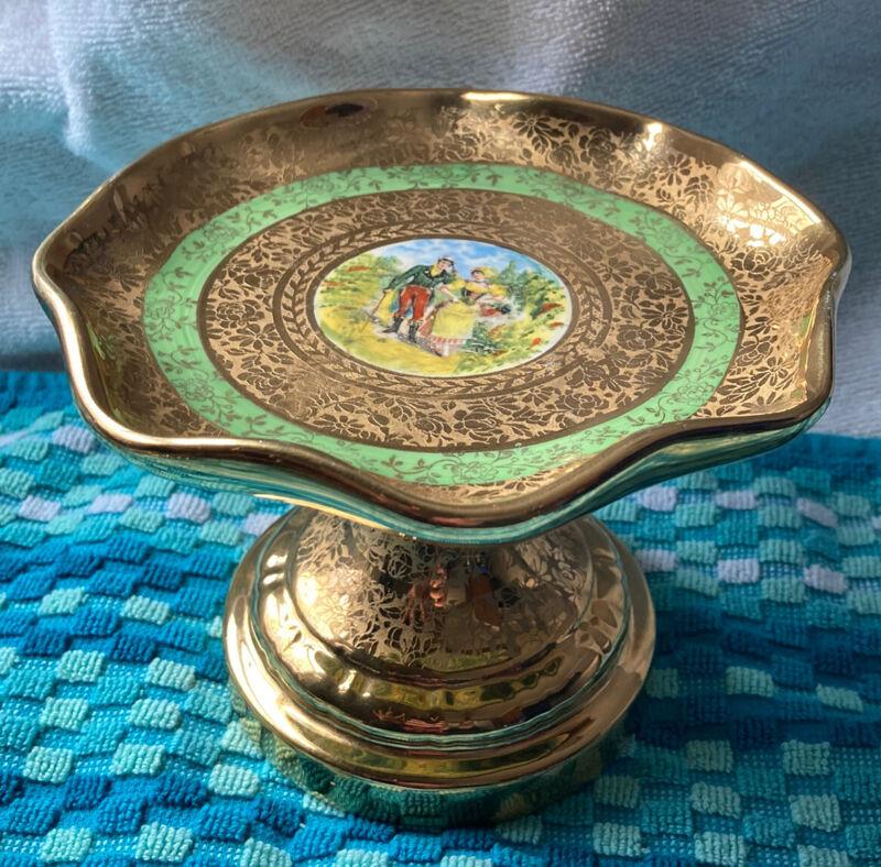 Vintage Osborne China Gold Compote Trinket Dish Rippled Rim Pedestal Rare Beauty