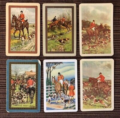 6 Vintage Playing Cards ~ Horses ~ Riders/Sporting Dogs ~ 3 Named ~1 Swap