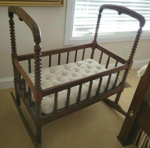 Antique Wooden Rocking Jenny Lind Spool Baby Bed Bassinet Cradle Custom Mattress