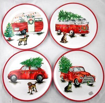 """NEW! VW Bus Bug Car Pickup Camper Dog  Christmas Melamine 9"""" Plates Set of 4"""