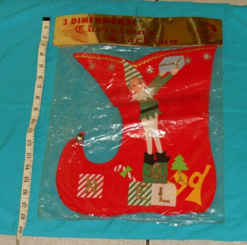 vintage 3-DIMENSIONAL CHRISTMAS STOCKING pixie elf made-in-Japan new in package