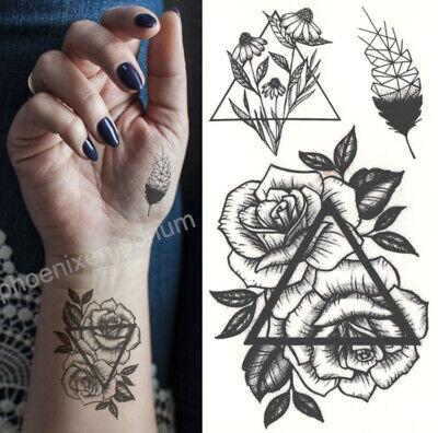 Temporary Tattoo Black Double Rose Geometric Fake Body Art Sticker Waterproof
